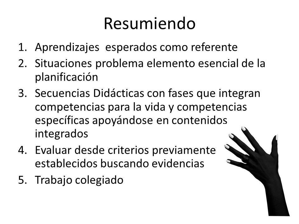 Resumiendo 1.Aprendizajes esperados como referente 2.Situaciones problema elemento esencial de la planificación 3.Secuencias Didácticas con fases que
