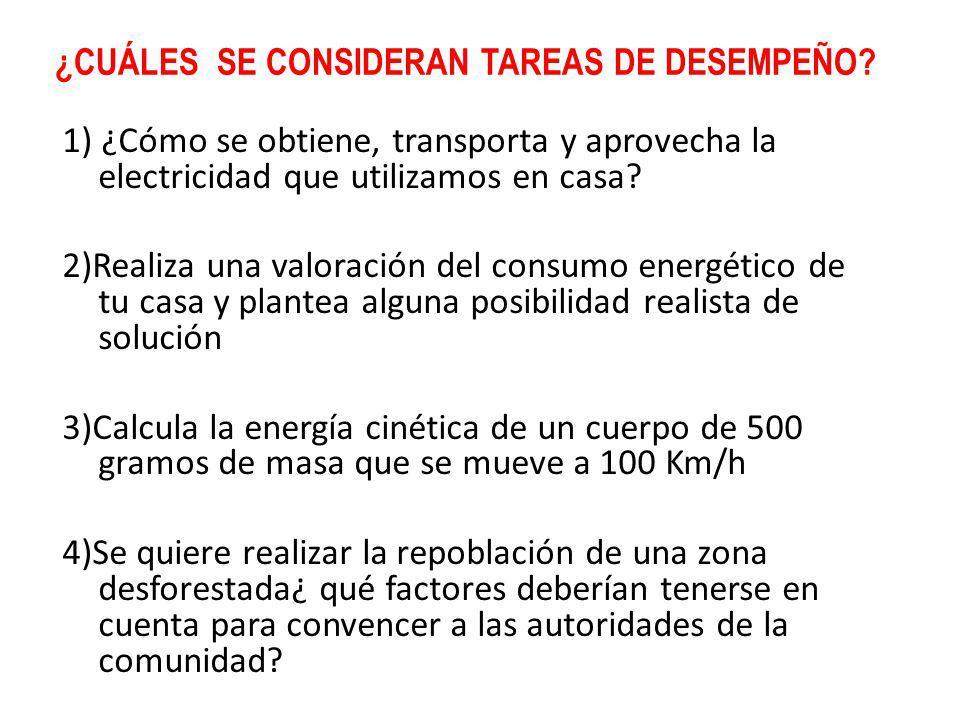 ¿CUÁLES SE CONSIDERAN TAREAS DE DESEMPEÑO? 1) ¿Cómo se obtiene, transporta y aprovecha la electricidad que utilizamos en casa? 2)Realiza una valoració