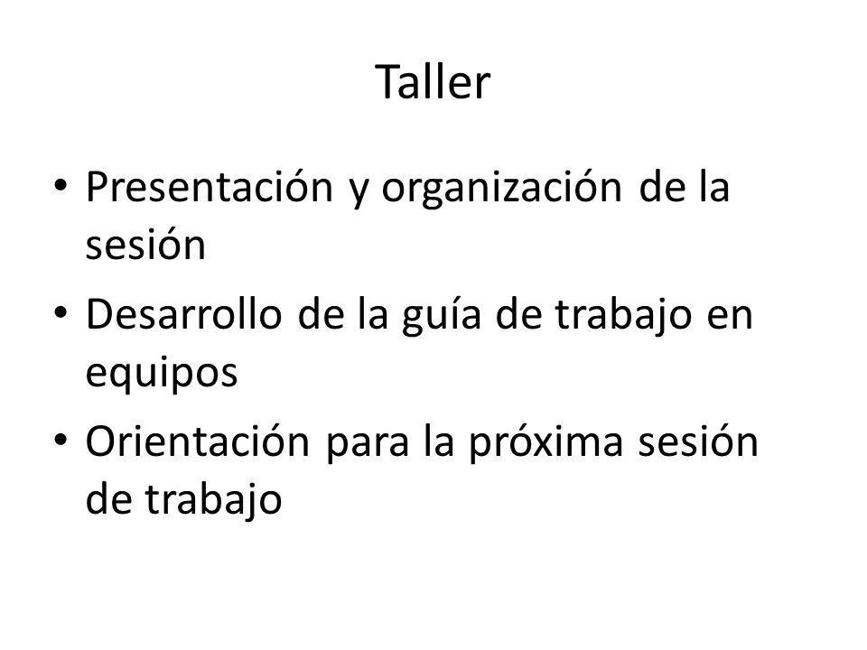 Taller Presentación y organización de la sesión Desarrollo de la guía de trabajo en equipos Orientación para la próxima sesión de trabajo