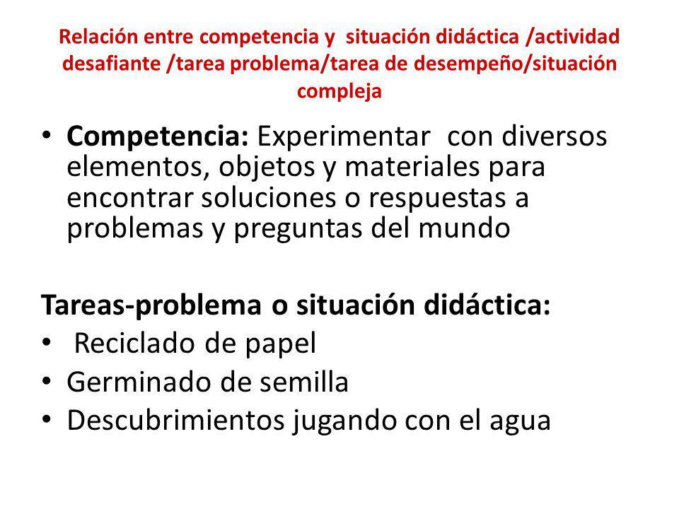 Relación entre competencia y situación didáctica /actividad desafiante /tarea problema/tarea de desempeño/situación compleja Competencia: Experimentar