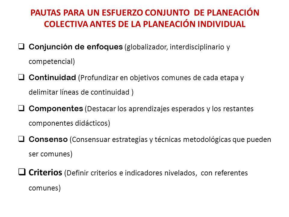 PAUTAS PARA UN ESFUERZO CONJUNTO DE PLANEACIÓN COLECTIVA ANTES DE LA PLANEACIÓN INDIVIDUAL Conjunción de enfoques (globalizador, interdisciplinario y