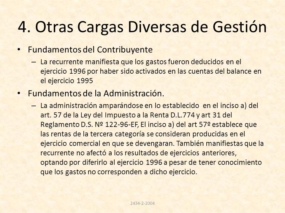 4. Otras Cargas Diversas de Gestión Fundamentos del Contribuyente – La recurrente manifiesta que los gastos fueron deducidos en el ejercicio 1996 por