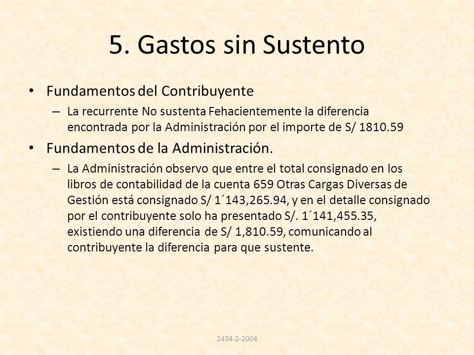 5. Gastos sin Sustento Fundamentos del Contribuyente – La recurrente No sustenta Fehacientemente la diferencia encontrada por la Administración por el