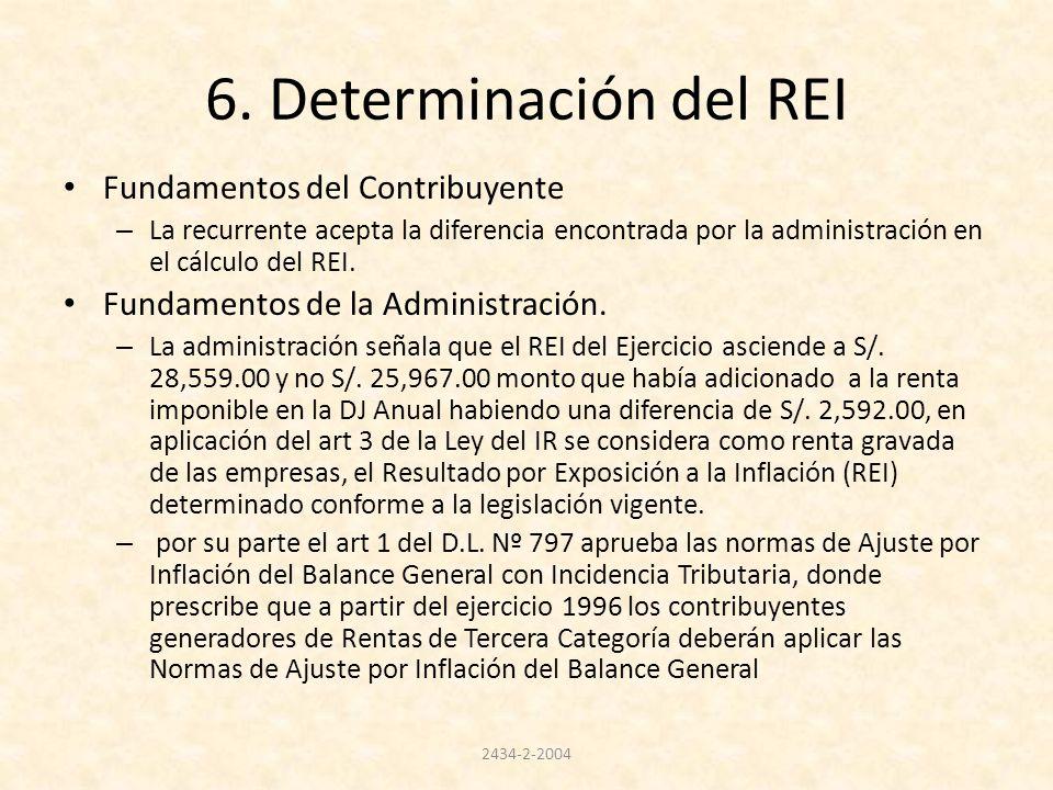 6. Determinación del REI Fundamentos del Contribuyente – La recurrente acepta la diferencia encontrada por la administración en el cálculo del REI. Fu
