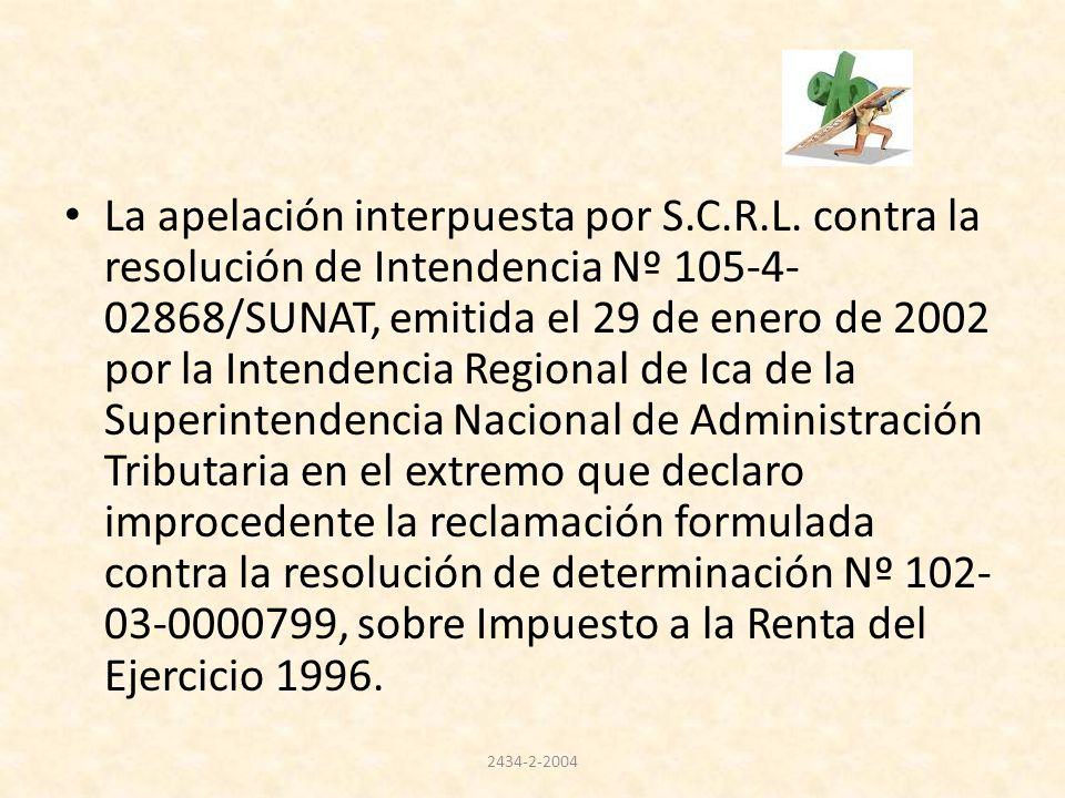 La apelación interpuesta por S.C.R.L. contra la resolución de Intendencia Nº 105-4- 02868/SUNAT, emitida el 29 de enero de 2002 por la Intendencia Reg