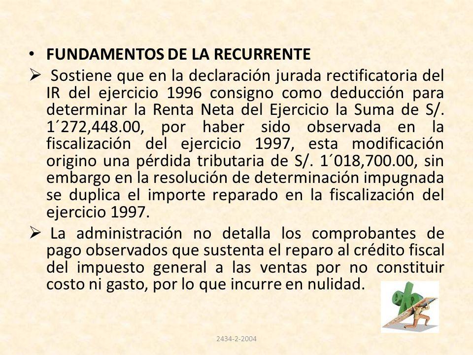 FUNDAMENTOS DE LA RECURRENTE Sostiene que en la declaración jurada rectificatoria del IR del ejercicio 1996 consigno como deducción para determinar la