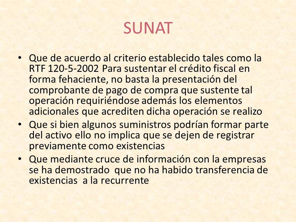 SUNAT Que de acuerdo al criterio establecido tales como la RTF 120-5-2002 Para sustentar el crédito fiscal en forma fehaciente, no basta la presentaci