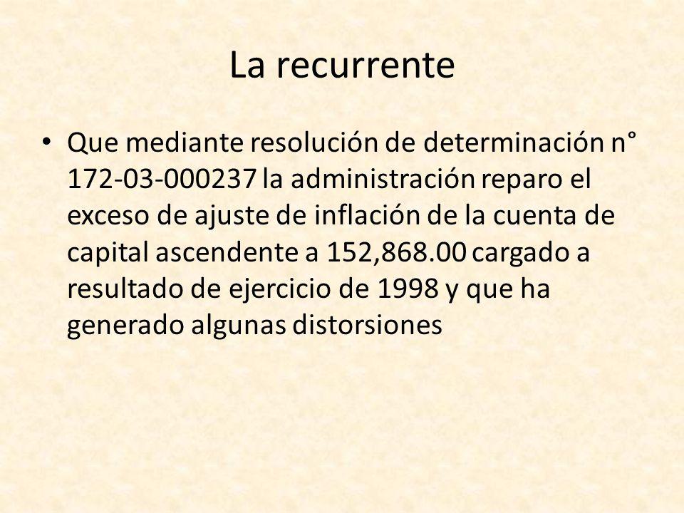La recurrente Que mediante resolución de determinación n° 172-03-000237 la administración reparo el exceso de ajuste de inflación de la cuenta de capi