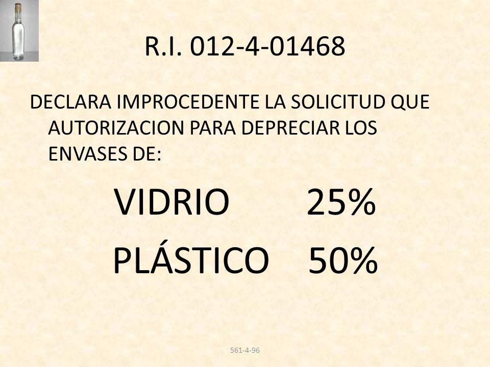 R.I. 012-4-01468 DECLARA IMPROCEDENTE LA SOLICITUD QUE AUTORIZACION PARA DEPRECIAR LOS ENVASES DE: VIDRIO 25% PLÁSTICO 50% 561-4-96
