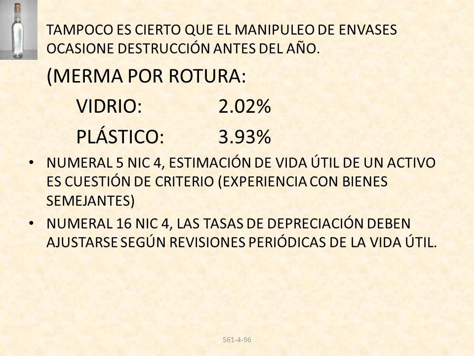 TAMPOCO ES CIERTO QUE EL MANIPULEO DE ENVASES OCASIONE DESTRUCCIÓN ANTES DEL AÑO. (MERMA POR ROTURA: VIDRIO:2.02% PLÁSTICO: 3.93% NUMERAL 5 NIC 4, EST