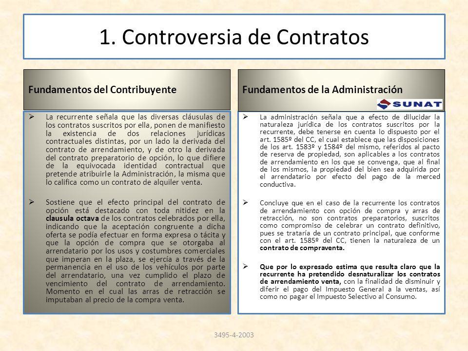 1. Controversia de Contratos Fundamentos del Contribuyente La recurrente señala que las diversas cláusulas de los contratos suscritos por ella, ponen
