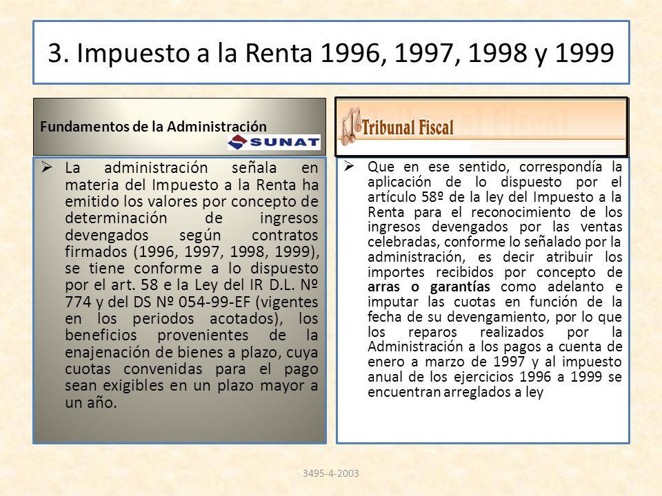 3. Impuesto a la Renta 1996, 1997, 1998 y 1999 Fundamentos de la Administración La administración señala en materia del Impuesto a la Renta ha emitido
