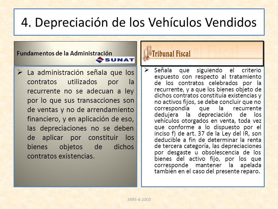 4. Depreciación de los Vehículos Vendidos Fundamentos de la Administración La administración señala que los contratos utilizados por la recurrente no