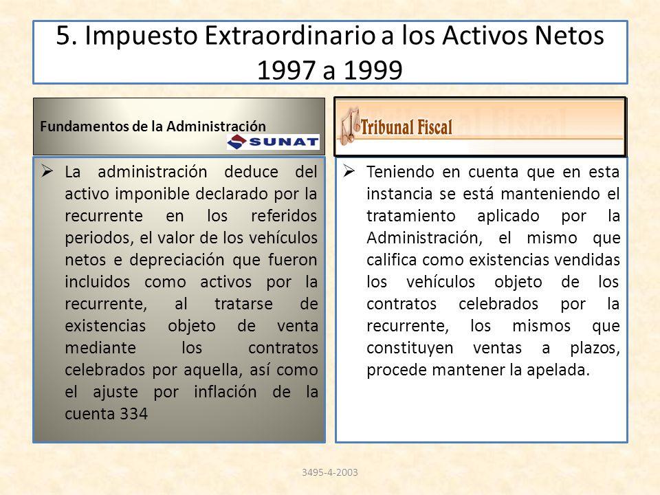 5. Impuesto Extraordinario a los Activos Netos 1997 a 1999 Fundamentos de la Administración La administración deduce del activo imponible declarado po