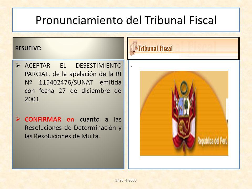 Pronunciamiento del Tribunal Fiscal RESUELVE: ACEPTAR EL DESESTIMIENTO PARCIAL, de la apelación de la RI Nº 115402476/SUNAT emitida con fecha 27 de di