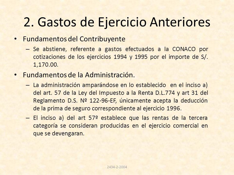 2. Gastos de Ejercicio Anteriores Fundamentos del Contribuyente – Se abstiene, referente a gastos efectuados a la CONACO por cotizaciones de los ejerc