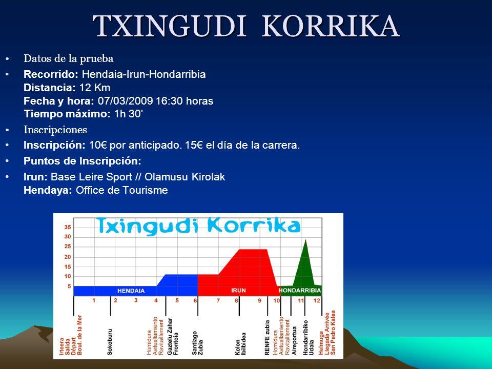 TXINGUDI KORRIKA Datos de la prueba Recorrido: Hendaia-Irun-Hondarribia Distancia: 12 Km Fecha y hora: 07/03/2009 16:30 horas Tiempo máximo: 1h 30' In