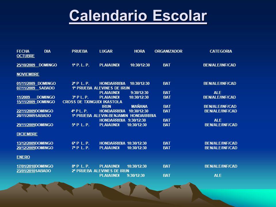 Calendario Escolar FECHADIAPRUEBALUGAR HORAORGANIZADORCATEGORIA OCTUBRE 25/10/2009 DOMINGO1ª P. L. P.PLAIAUNDI 10:30/12:30 BAT BEN/ALE/INF/CAD NOVIEMB