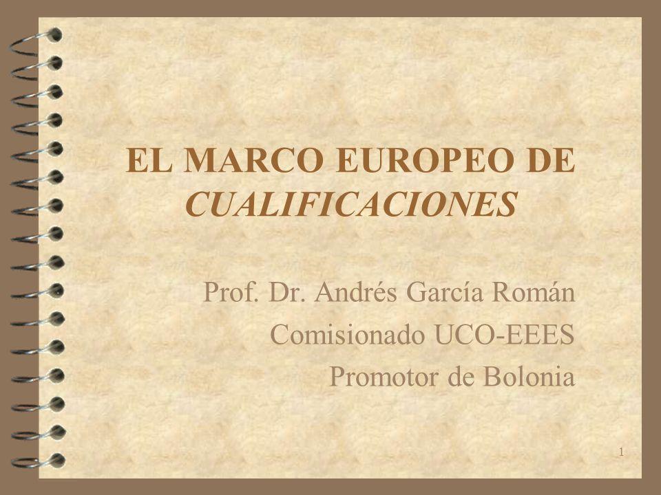 1 EL MARCO EUROPEO DE CUALIFICACIONES Prof. Dr. Andrés García Román Comisionado UCO-EEES Promotor de Bolonia