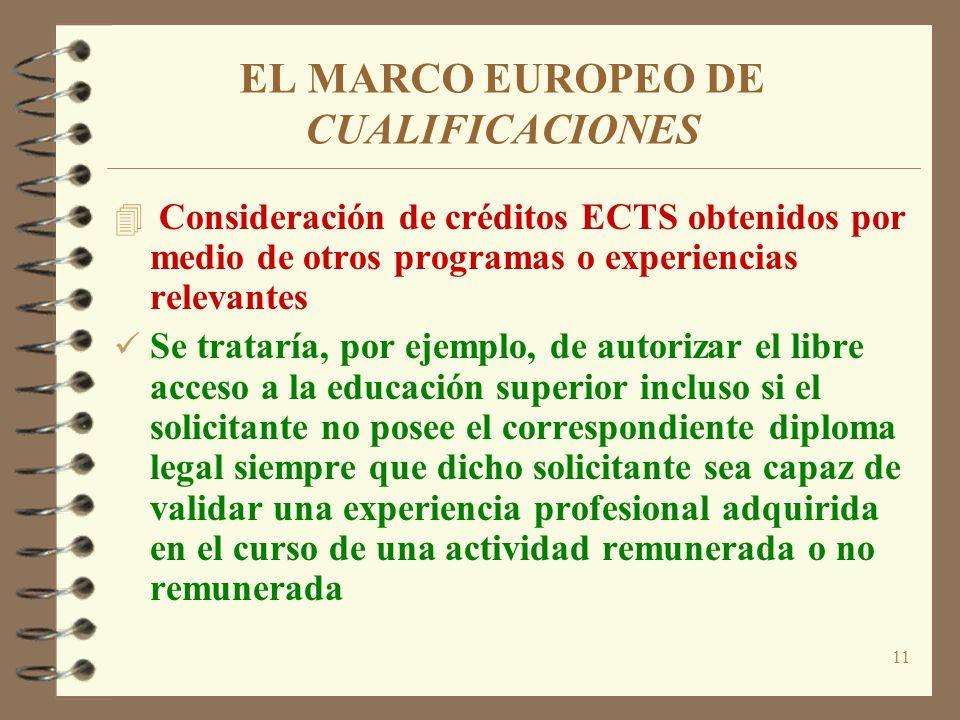 11 EL MARCO EUROPEO DE CUALIFICACIONES 4 Consideración de créditos ECTS obtenidos por medio de otros programas o experiencias relevantes Se trataría,