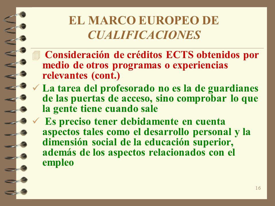 16 EL MARCO EUROPEO DE CUALIFICACIONES 4 Consideración de créditos ECTS obtenidos por medio de otros programas o experiencias relevantes (cont.) La ta
