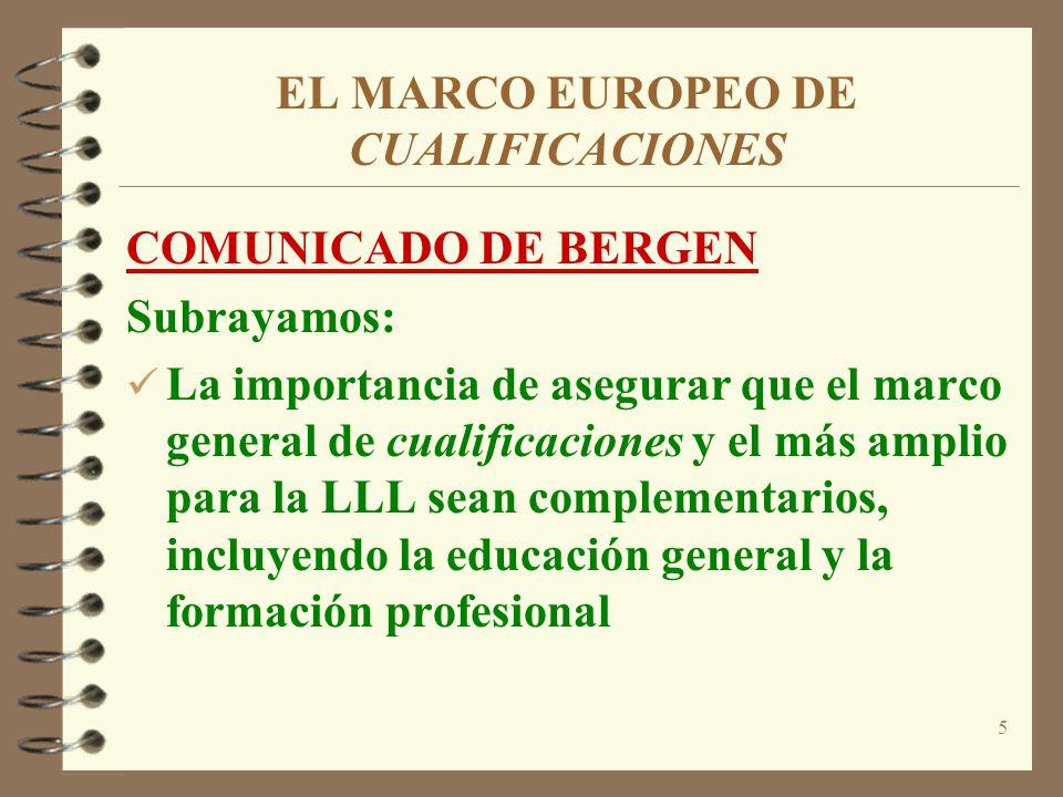 5 EL MARCO EUROPEO DE CUALIFICACIONES COMUNICADO DE BERGEN Subrayamos: La importancia de asegurar que el marco general de cualificaciones y el más amp