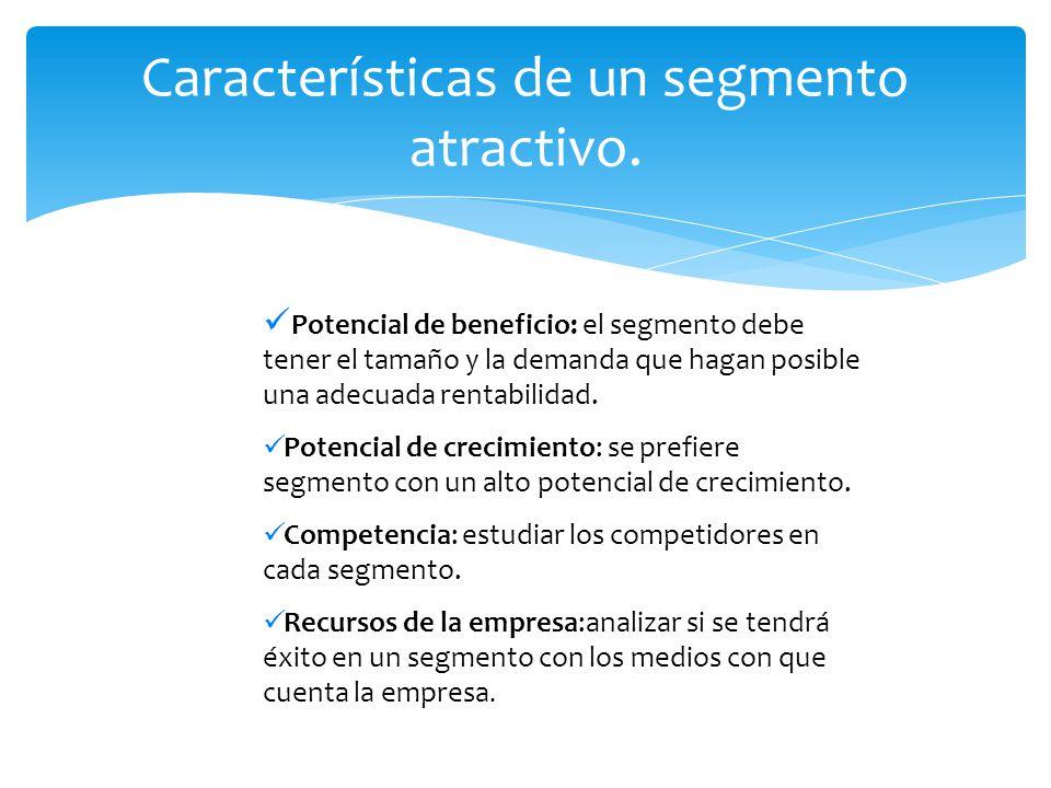 Potencial de beneficio: el segmento debe tener el tamaño y la demanda que hagan posible una adecuada rentabilidad. Potencial de crecimiento: se prefie
