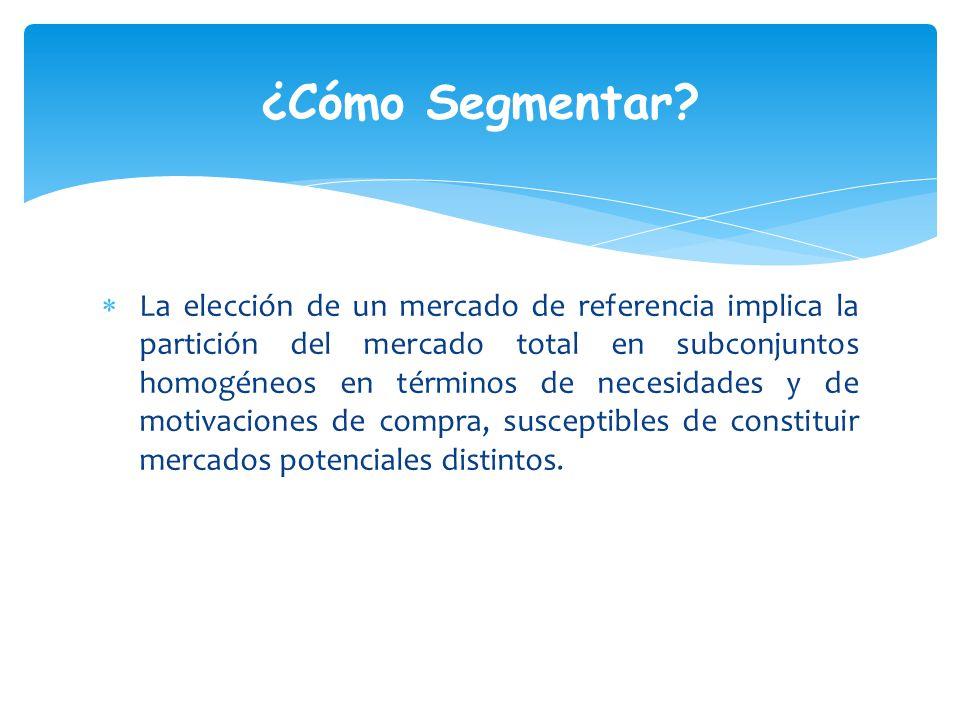 La elección de un mercado de referencia implica la partición del mercado total en subconjuntos homogéneos en términos de necesidades y de motivaciones