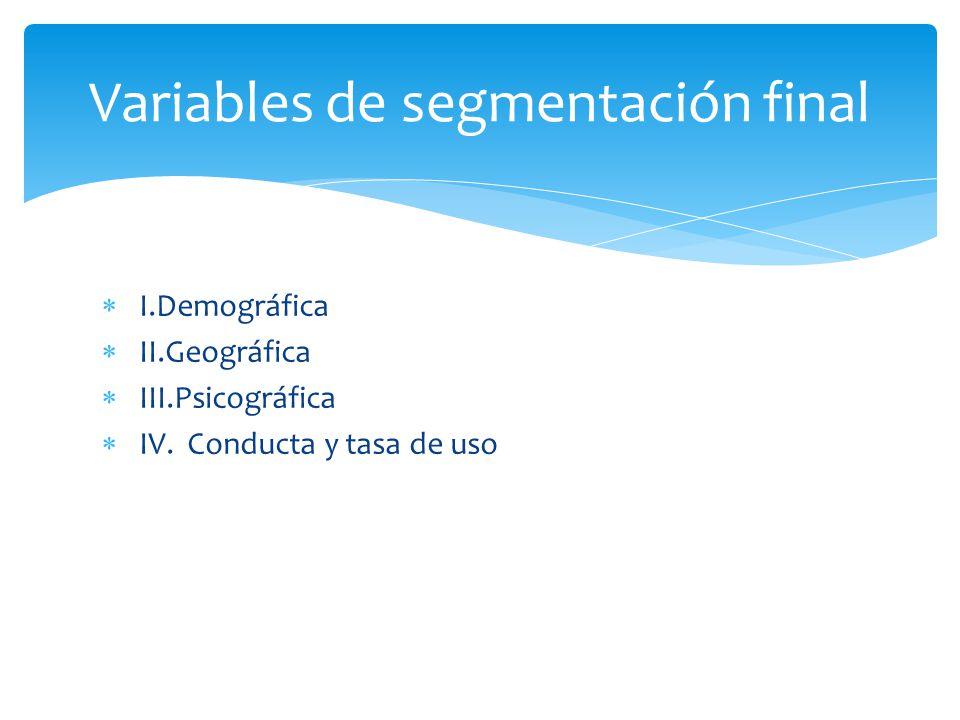 I.Demográfica II.Geográfica III.Psicográfica IV. Conducta y tasa de uso Variables de segmentación final
