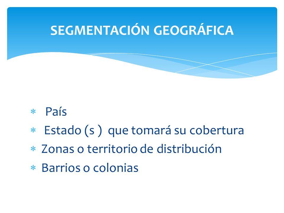 País Estado (s ) que tomará su cobertura Zonas o territorio de distribución Barrios o colonias SEGMENTACIÓN GEOGRÁFICA