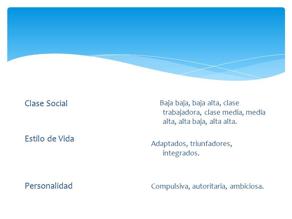 Clase Social Estilo de Vida Personalidad Baja baja, baja alta, clase trabajadora, clase media, media alta, alta baja, alta alta. Adaptados, triunfador