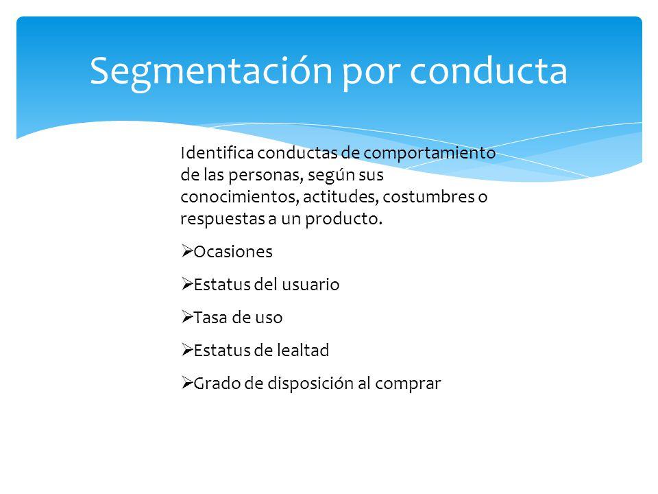 Identifica conductas de comportamiento de las personas, según sus conocimientos, actitudes, costumbres o respuestas a un producto.