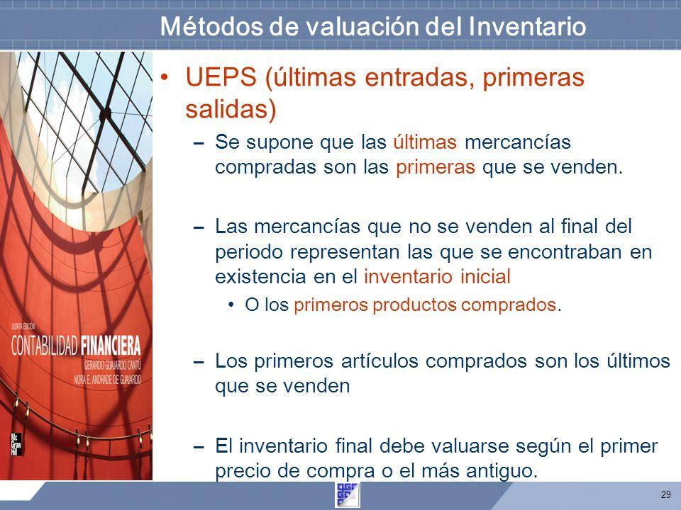 29 Métodos de valuación del Inventario UEPS (últimas entradas, primeras salidas) –Se supone que las últimas mercancías compradas son las primeras que se venden.