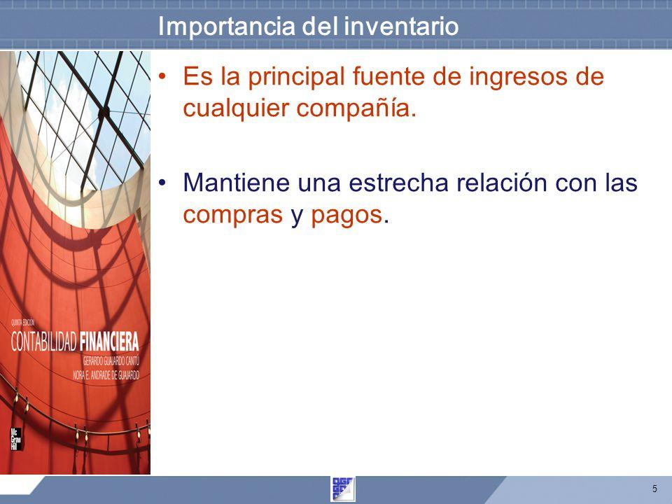 5 Importancia del inventario Es la principal fuente de ingresos de cualquier compañía.