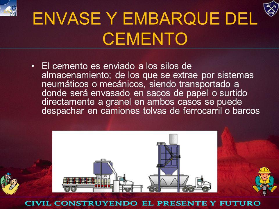 ENVASE Y EMBARQUE DEL CEMENTO El cemento es enviado a los silos de almacenamiento; de los que se extrae por sistemas neumáticos o mecánicos, siendo transportado a donde será envasado en sacos de papel o surtido directamente a granel en ambos casos se puede despachar en camiones tolvas de ferrocarril o barcos