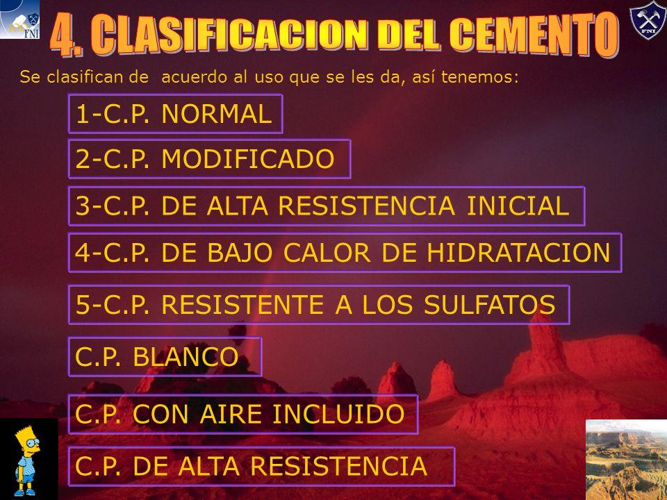 Se clasifican de acuerdo al uso que se les da, así tenemos: 1-C.P.