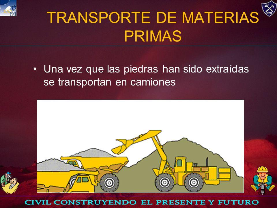 TRITURACIÓN El material de las canteras es fragmentado y triturado a un tamaño máximo de una y media pulgadas.