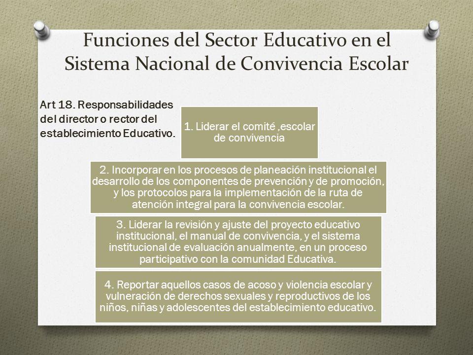 Funciones del Sector Educativo en el Sistema Nacional de Convivencia Escolar Art 18.