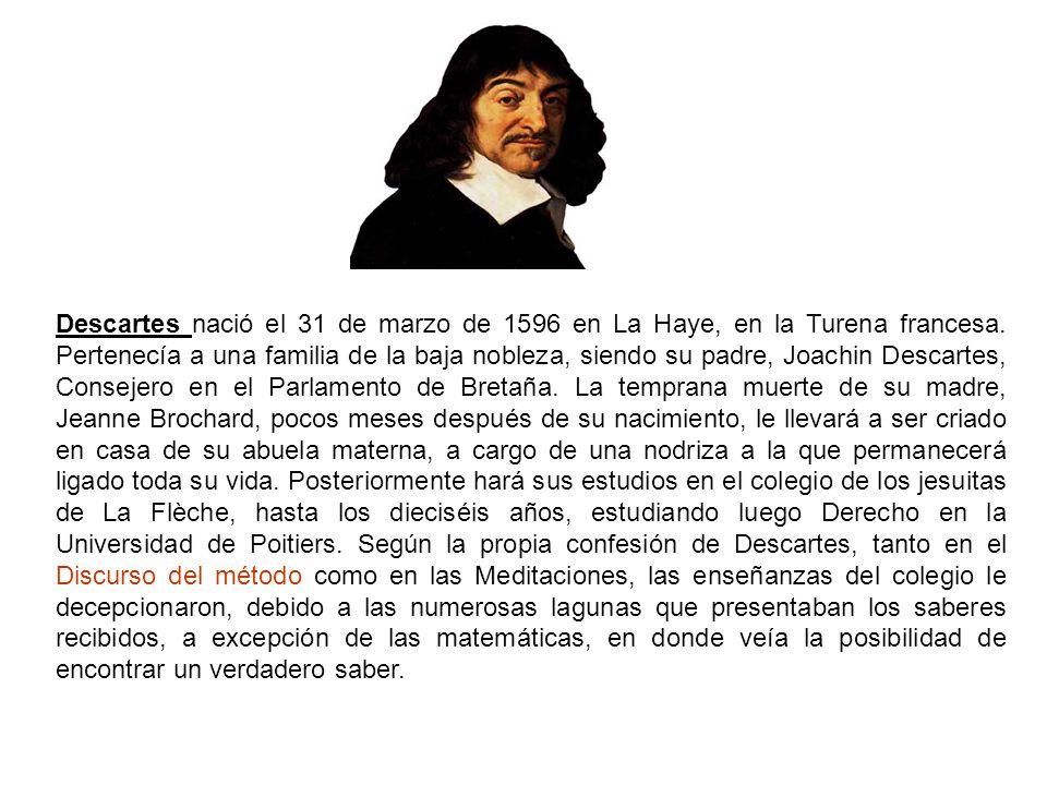Descartes nació el 31 de marzo de 1596 en La Haye, en la Turena francesa. Pertenecía a una familia de la baja nobleza, siendo su padre, Joachin Descar