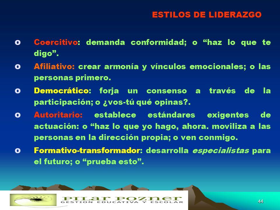 PRINCIPIO DE LA TENSIÓN CREATIVA REALIDAD PRESENTE 1 VISIÓN DE FUTURO DESEADO 2 OBJETIVO DE LA ACCIÓN DE TRANSFORMACIÓN BRECHA DE INSATISFACCIÓN 3 43