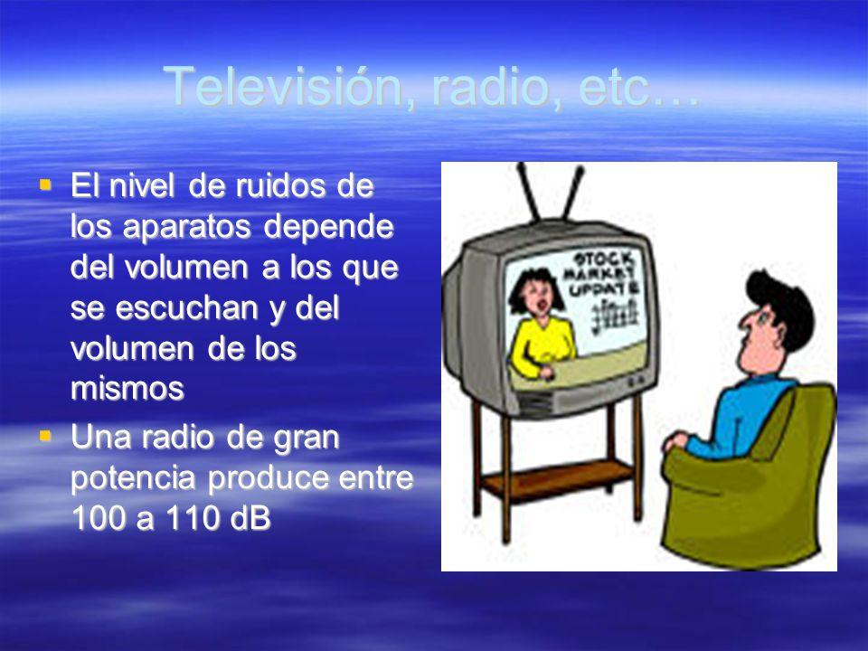 Televisión, radio, etc… El nivel de ruidos de los aparatos depende del volumen a los que se escuchan y del volumen de los mismos El nivel de ruidos de