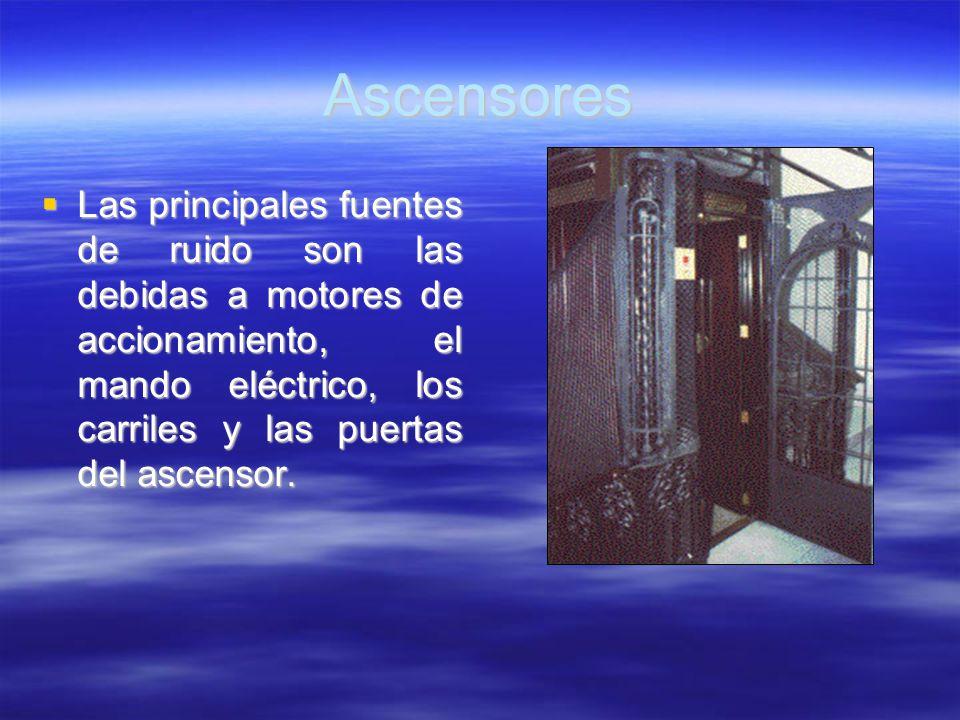 Ascensores Las principales fuentes de ruido son las debidas a motores de accionamiento, el mando eléctrico, los carriles y las puertas del ascensor. L