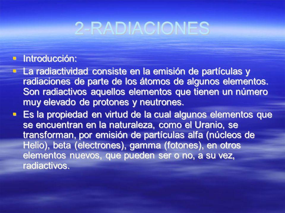 2-RADIACIONES Introducción: Introducción: La radiactividad consiste en la emisión de partículas y radiaciones de parte de los átomos de algunos elemen