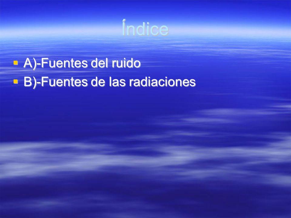 Índice A)-Fuentes del ruido A)-Fuentes del ruido B)-Fuentes de las radiaciones B)-Fuentes de las radiaciones