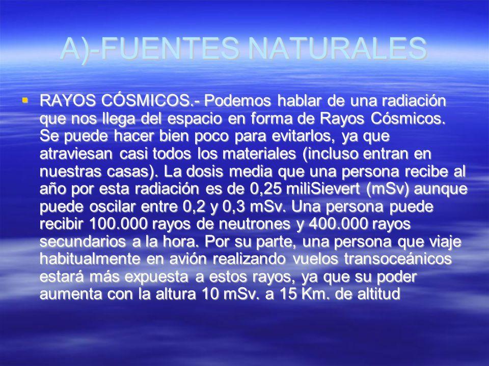 A)-FUENTES NATURALES RAYOS CÓSMICOS.- Podemos hablar de una radiación que nos llega del espacio en forma de Rayos Cósmicos. Se puede hacer bien poco p