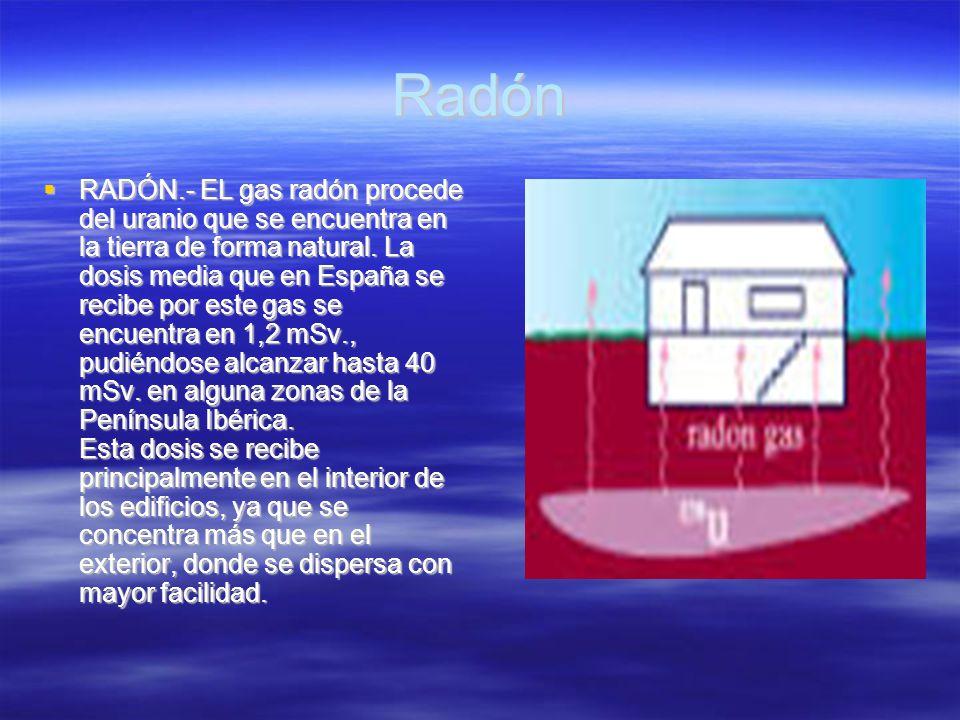 Radón RADÓN.- EL gas radón procede del uranio que se encuentra en la tierra de forma natural. La dosis media que en España se recibe por este gas se e