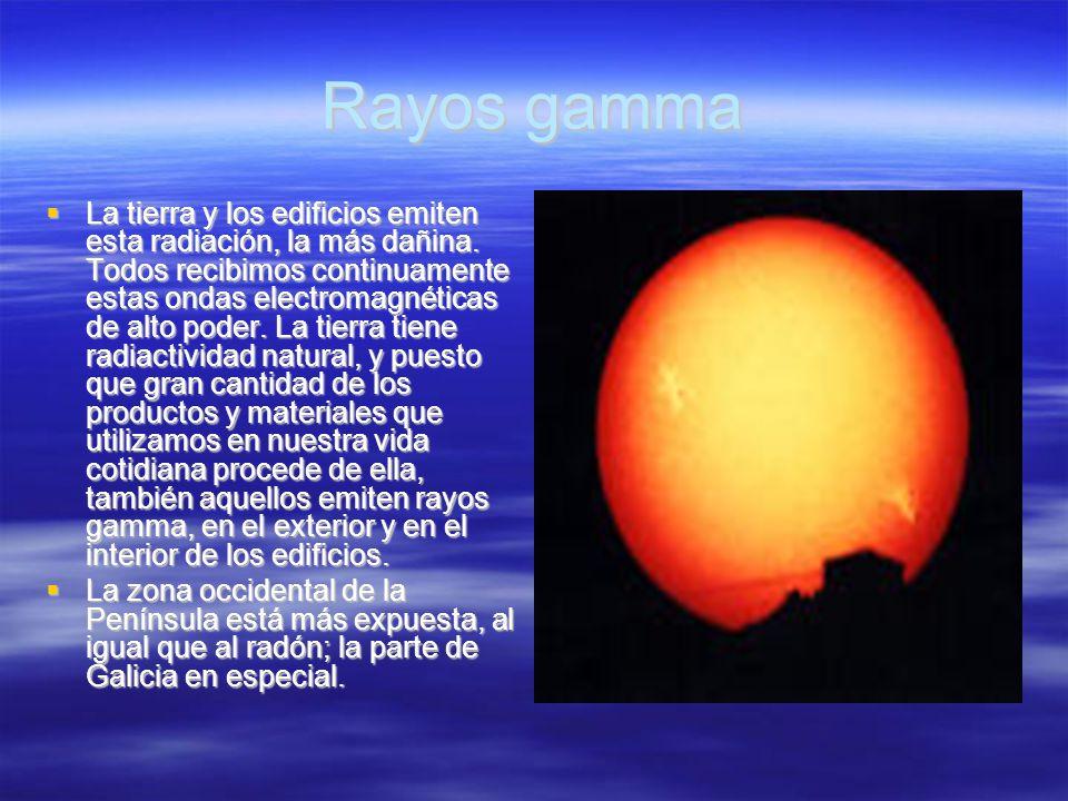Rayos gamma La tierra y los edificios emiten esta radiación, la más dañina. Todos recibimos continuamente estas ondas electromagnéticas de alto poder.