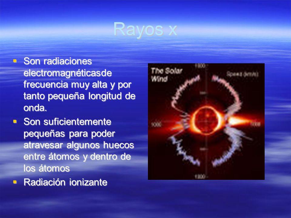 Rayos x Son radiaciones electromagnéticasde frecuencia muy alta y por tanto pequeña longitud de onda. Son radiaciones electromagnéticasde frecuencia m