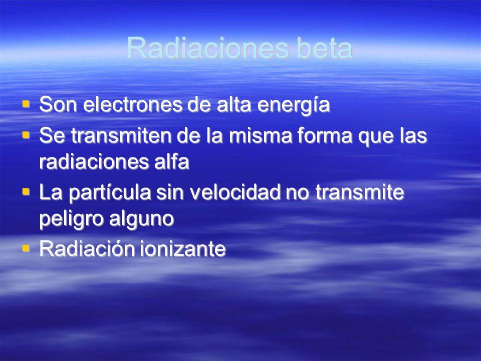 Radiaciones beta Son electrones de alta energía Son electrones de alta energía Se transmiten de la misma forma que las radiaciones alfa Se transmiten