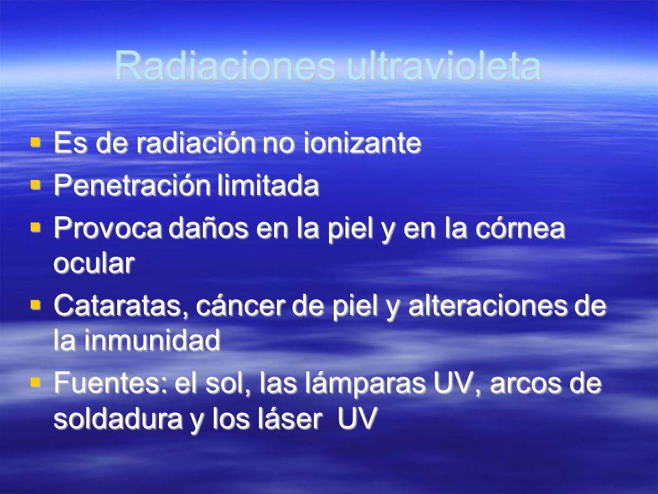 Radiaciones ultravioleta Es de radiación no ionizante Es de radiación no ionizante Penetración limitada Penetración limitada Provoca daños en la piel